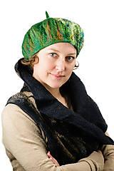 Čiapky - Zelená elegantná Francúzska baretka, Merino vlna, plstená - 8701155_