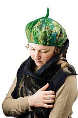 Čiapky - Zelená elegantná Francúzska baretka, Merino vlna, plstená - 8701161_