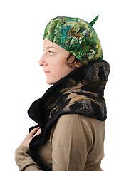 Čiapky - Zelená elegantná Francúzska baretka, Merino vlna, plstená - 8701163_