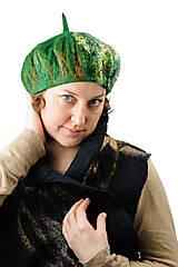 Čiapky - Zelená elegantná Francúzska baretka, Merino vlna, plstená - 8701167_