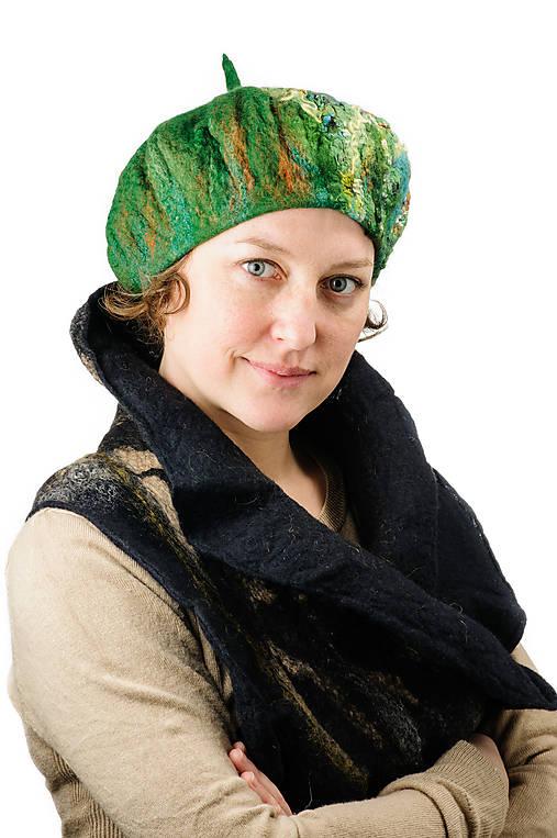 Zelená elegantná Francúzska baretka, Merino vlna, plstená
