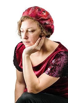 Čiapky - Elegantná červená Francúzska baretka, Merino vlna, plstená - 8701107_