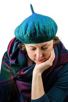 Čiapky - Modrá elegantná Francúzska baretka, Merino vlna, plstená - 8701134_