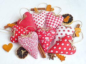 Dekorácie - Vianočné srdiečka červené-mix - 8701022  e4bd321c1ed