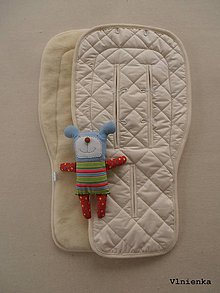 Textil - 100% MERINO wool Podložka do kočíka Bugaboo/ Joolz/ Valco/ Petite and Mars / Britax  SMOTANOVÁ Elegant Off White - 8697858_
