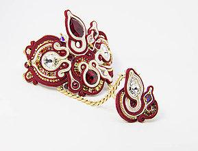 Náramky - Bordovo-béžový náramok s prsteňom - 8699299_
