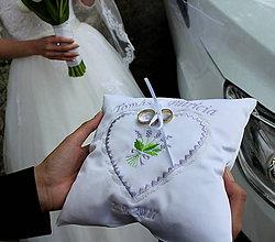 Prstene - Svadobný vankúšik - levanduľa - 8701569_