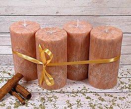 Svietidlá a sviečky - Adventné sviečky - škoricová sada - 8701576_
