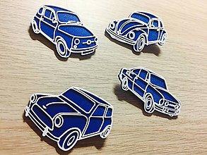 Magnetky - Sada retro magnetek - autíčka (bílá) - 8700298_