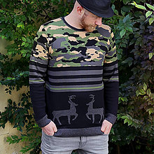Oblečenie - Sveter s jelenom kamufláž - 8700974_