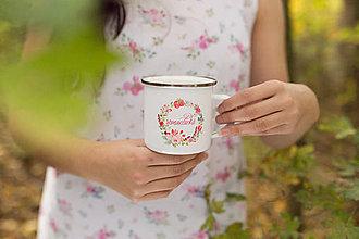 """Nádoby - Smaltovaný pivonkovo-šťavnatý hrnček """"romantická"""" alebo """"romantic"""" - 8698413_"""