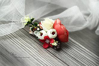 Ozdoby do vlasov - 2v1 Kvetová ozdoba do účesu / brošňa - 8699766_