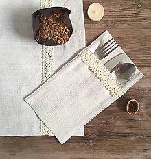 Úžitkový textil - Ľanový obal na príbor - 8699644_