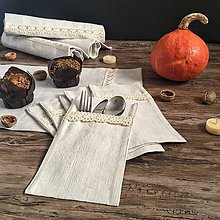 Úžitkový textil - Darčeková súprava z ľanového plátna - 8699942_