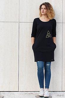 Šaty - Šaty s vreckami čierne z teplákoviny M14 IO5 - 8697662_