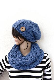 Čiapky - Maxi Set... Alpaka/Vlna... (Nádherná modrá) - 8704354_