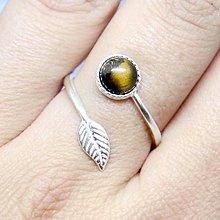 Prstene - Simple Leaf Silver Gemstone Ring Ag925 / Strieborný prsteň s minerálom #0436 (Tiger Eye / Tigrie oko) - 8702443_