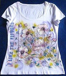 Tričká - Ružové kvety - 8703216_