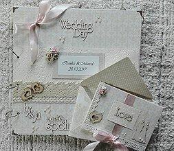 Papiernictvo - Svadobná sada albumu, pohľadnice a obálky - 8704754_