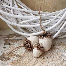 Dekorácie - Vianočné žalude - sada - 8705165_