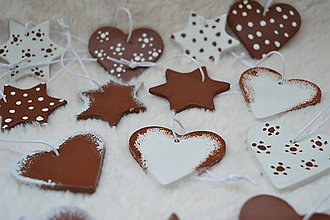 Dekorácie - Vianočná sada srdiečka a hviezdičky (Hnedo - biele) - 8703130_