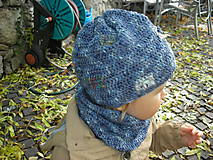 Detské súpravy - Modrý set čiapočka a nákrčník - 8701916_