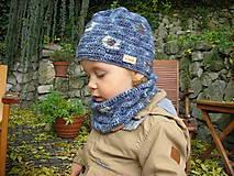 Detské súpravy - Modrý set čiapočka a nákrčník - 8701920_
