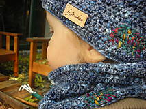 Detské súpravy - Modrý set čiapočka a nákrčník - 8701921_