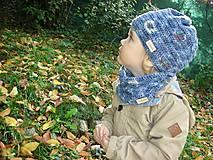 Detské súpravy - Modrý set čiapočka a nákrčník - 8701922_