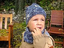 Detské súpravy - Modrý set čiapočka a nákrčník - 8701923_