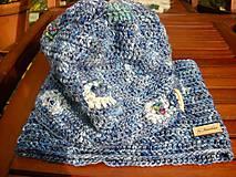 Detské súpravy - Modrý set čiapočka a nákrčník - 8701925_