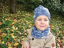 Detské súpravy - Modrý set čiapočka a nákrčník - 8701980_