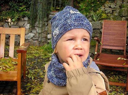 Modrý set čiapočka a nákrčník