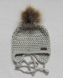 Detské čiapky - Sivá s kožušinovým brmbolcom - 8705100_