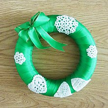 Dekorácie - Vianočný venček, zelený, priemer 20 cm - 8703345_