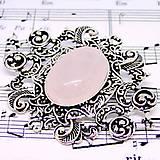 Barocco Pink Rose Quartz Brooch / Baroková brošňa s ruženínom v starostriebornom prevedení /0450