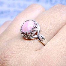 Prstene - Pink Opal & Silver Ag 925 / Strieborný vintage prsteň s prírodným andským opálom /0467 - 8708902_