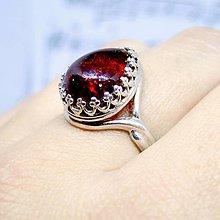 Prstene - Teardrop Baltic Amber & Silver Ag 925 Ring / Strieborný prsteň v tvare slzy s baltickým jantárom - 8709058_