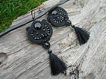 - Soutache náušnice Black Elegant - 8705770_