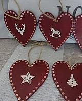 Dekorácie - Vianočné srdiečka - 8706106_