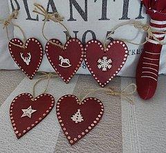 Dekorácie - Vianočné srdiečka - 8706107_