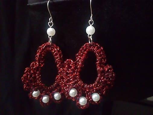 Háčkované náušnice - červená perleť   Lenka100 - SAShE.sk - Handmade ... 4878b32e654