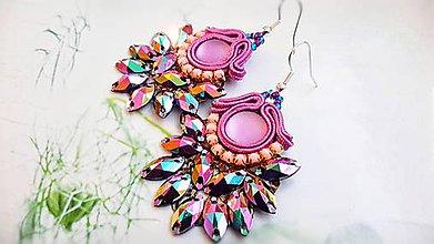 Náušnice - Jesenná kolekcia - žiarivé fialovoružové náušnice - 8708485_