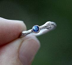 Prstene - Vetvičkový prsteň strieborný so zafírom farby oblohy - 8709465_