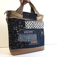 Veľké tašky - Veľká recytaška hnedomodrá - 8708034_