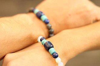 Náramky - Partnerské náramky lapis lazuli, labradorit, tyrkenit - 8708748_