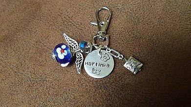 Kľúčenky - kľúčenka s anjelikom a menom na želanie - 8707536_