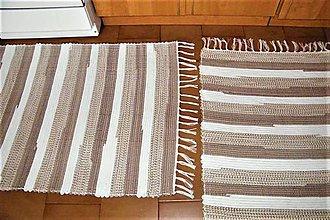 Úžitkový textil - Tkané bielo-hnedé koberce - 8706262_