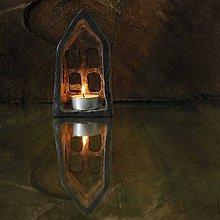 Svietidlá a sviečky - RAKU domček - svietnik - 8714367_