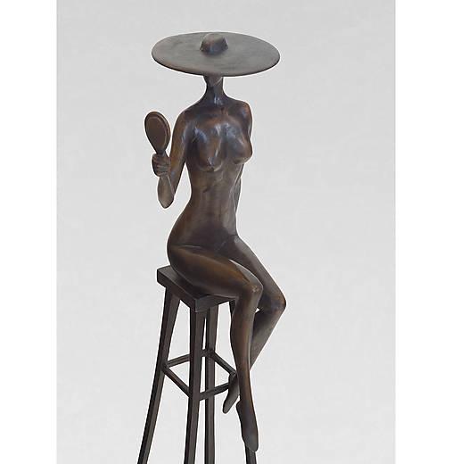 Dáma so zrkadlom - bronzová socha - originál